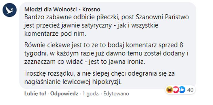 Odpowiedź Młodych dla Wolności ws. komentarza Jakuba Kędzierskiego